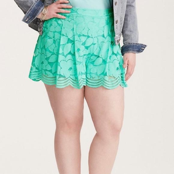 3fecc55bd0d Torrid teal lace shorts NWT